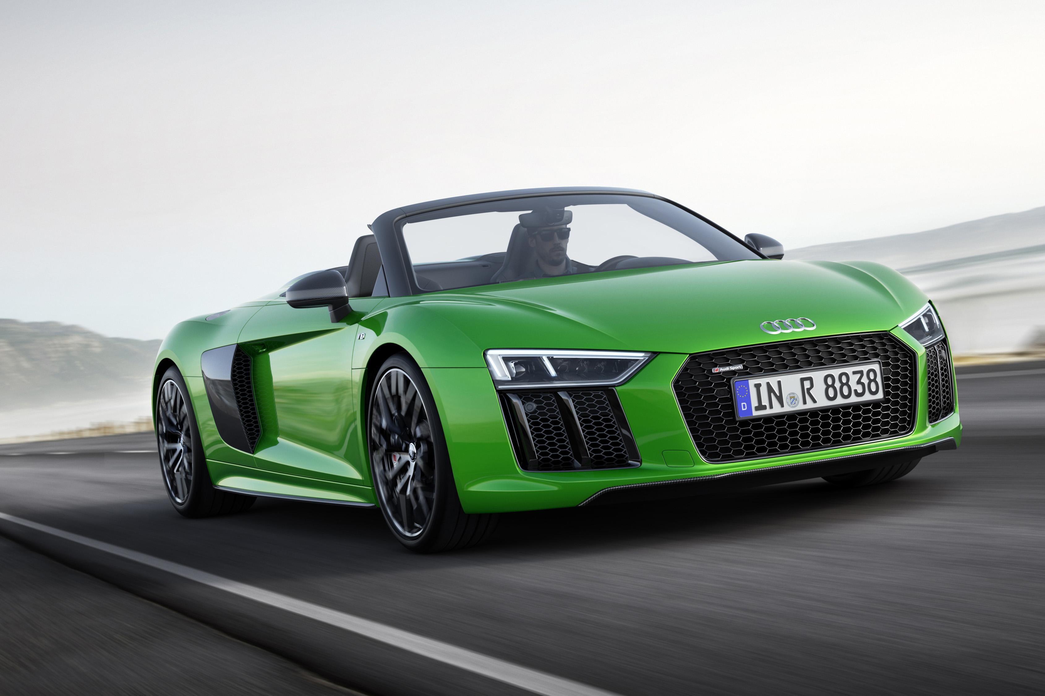 610 PS im grünen Mäntelchen: der Audi R8 Spyder V10 plus kostet ab 207.500 Euro.