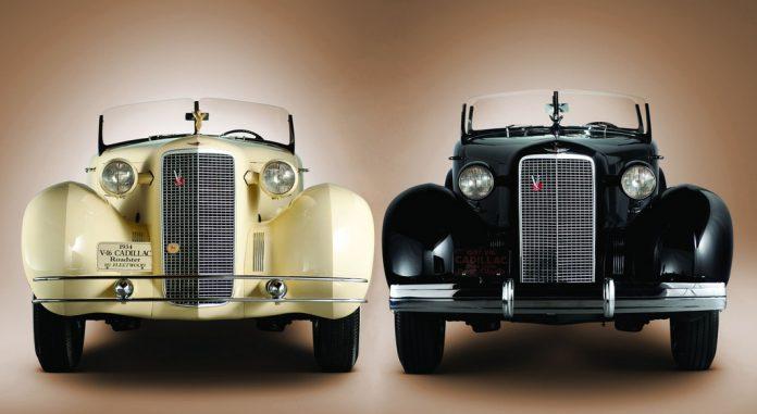 Cadillac Fleetwood V-16 Rumbleseat Roadster (1934) und Fleetwood V-16 Phaeton (1937, rechts). Foto: Auto-Medienportal.Net/Cadillac