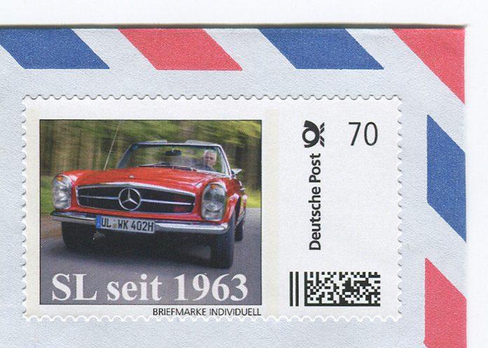 """Mercedes SL """"Pagode"""" als 2er-Set-Briefmarke Foto: 99 Rodeo Drive"""
