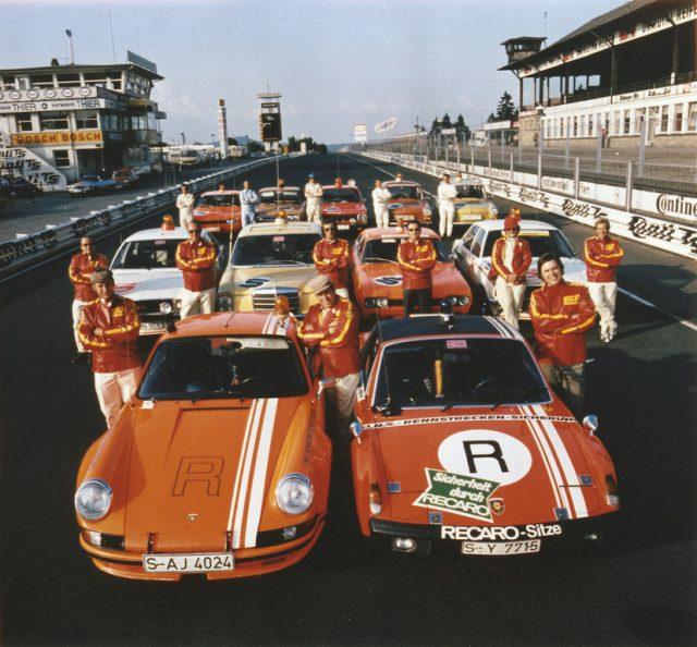 ONS-Streckensicherungsstaffel auf dem Nürburgring 1973: Porsche 911 Carrera RSR 2,8 Modelljahr 1973 (links) VW-Porsche 914/6 GT Foto: Auto-Medienportal.Net/Porsche